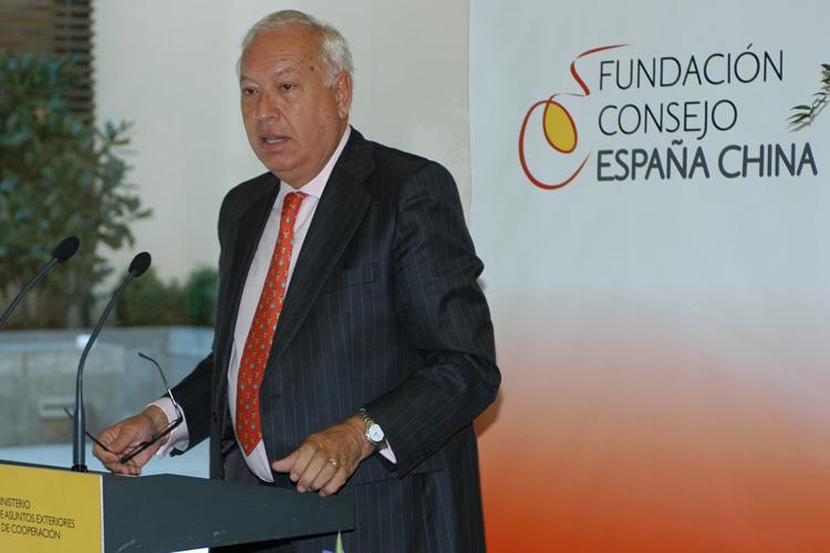 José Manuel García-Margallo, ministro de Asuntos Exteriores y Cooperación durante su discurso en la entrega de premios.